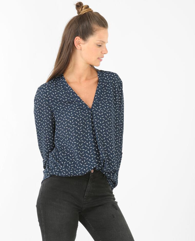bedruckte bluse mit v ausschnitt marineblau 561284635i19. Black Bedroom Furniture Sets. Home Design Ideas