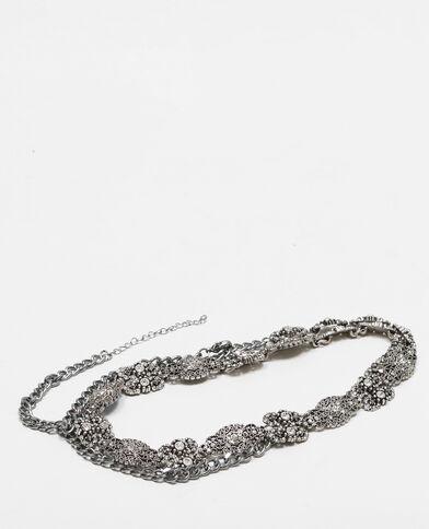 Cintura sottile gioielli grigio paillettato