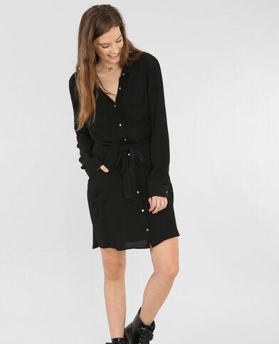 Hemdblusenkleid aus Krepp Schwarz