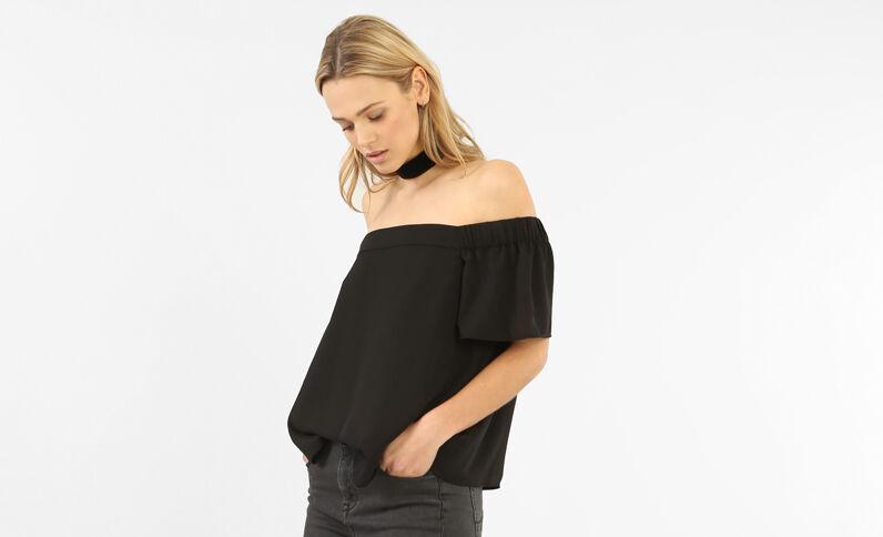 Locker fallende Bluse mit Bardot-Ausschnitt Schwarz