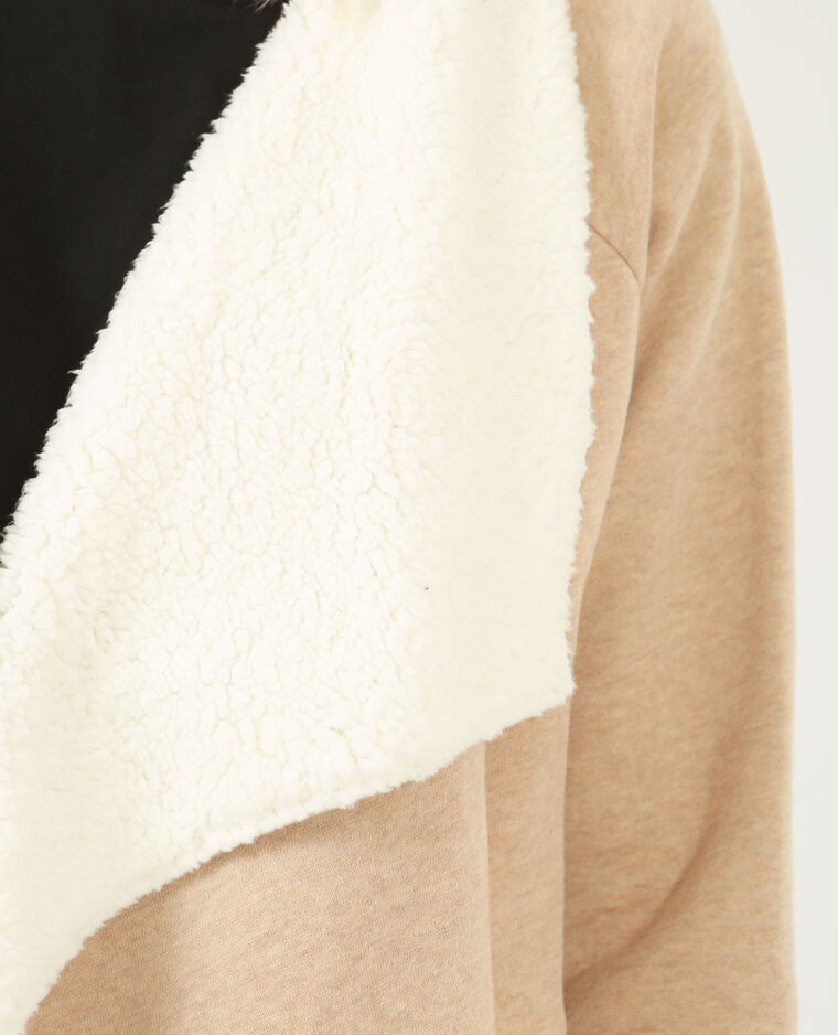 Gilet sweat fourré beige