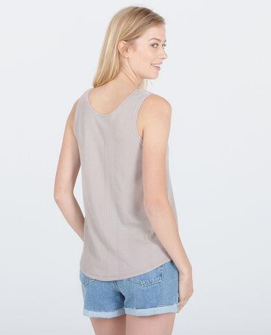Geripptes Homewear-Top Perlgrau
