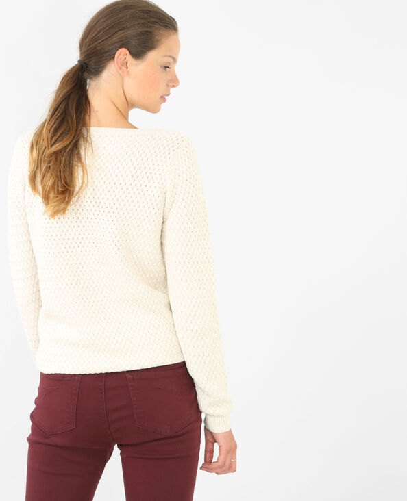 Jersey con cuello redondo marfil