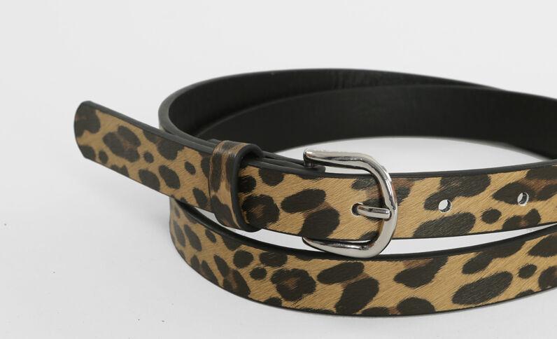 Gürtel mit Leoparden-Print Beige