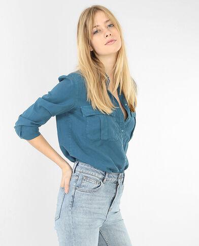Camicia tencel con tasche blu petrolio