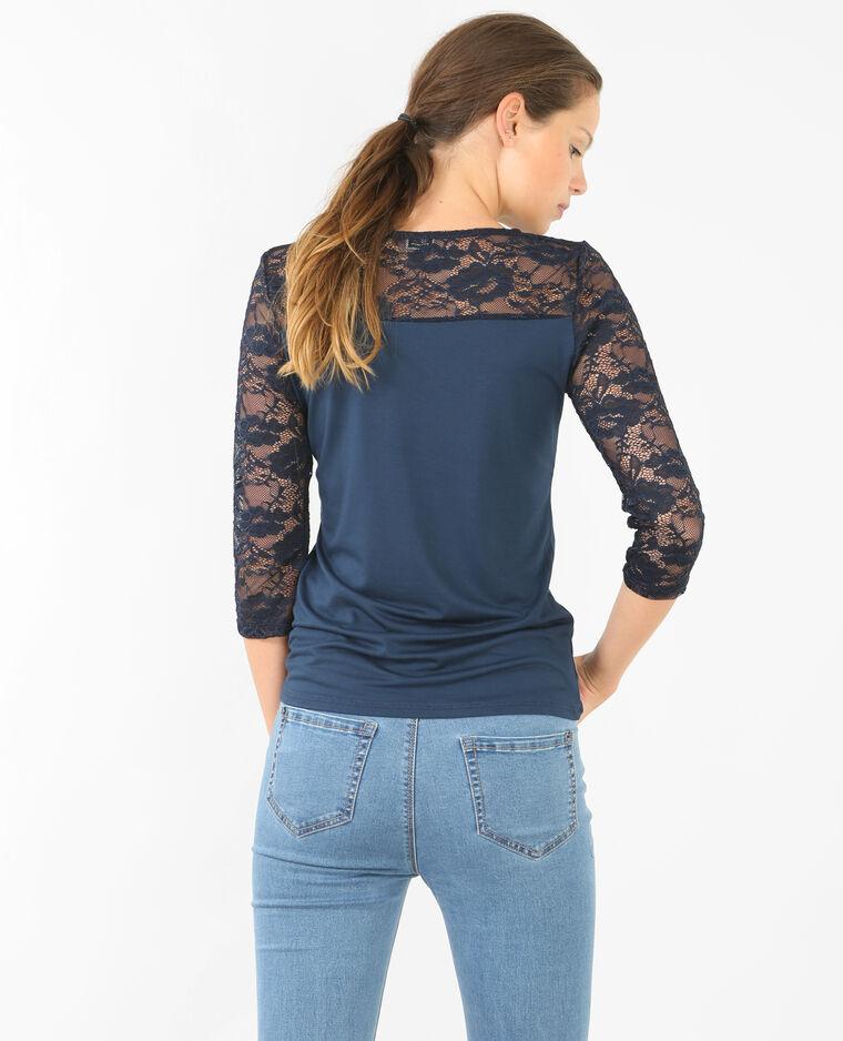 spitzen t shirt marineblau 473033635a06 pimkie. Black Bedroom Furniture Sets. Home Design Ideas