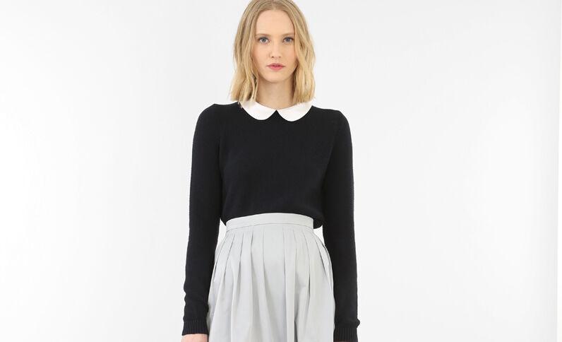 Pullover mit Bubikragen Marineblau