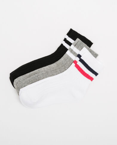 Lote de calcetines con bandas gris