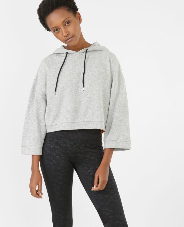 Sportliches Cropped-Sweatshirt Grau meliert