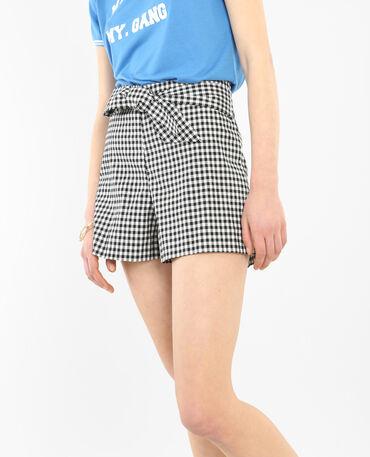 Shorts mit Vichy-Karos Weiß