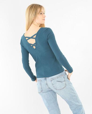 T-Shirt mit gekreuztem Rückenteil Türkis