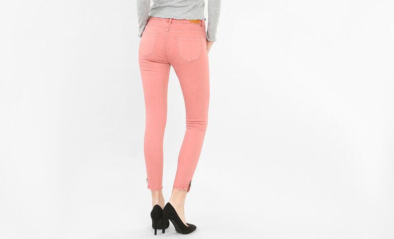 Skinny zippé rose