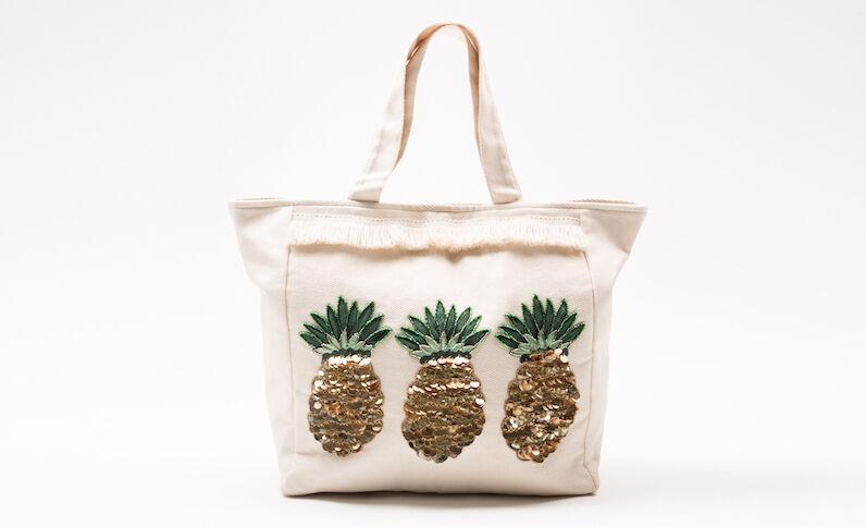 Grande borsa shopping ananas écru