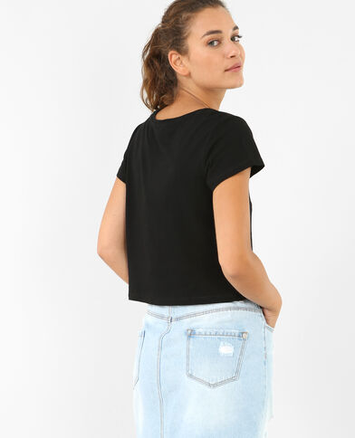 Top cropped a coste nero