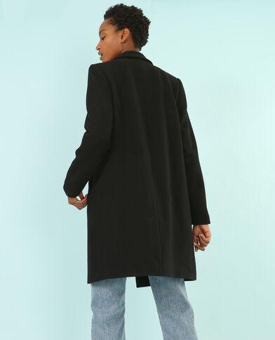 Langer Mantel mit maskulinem Schnitt Schwarz