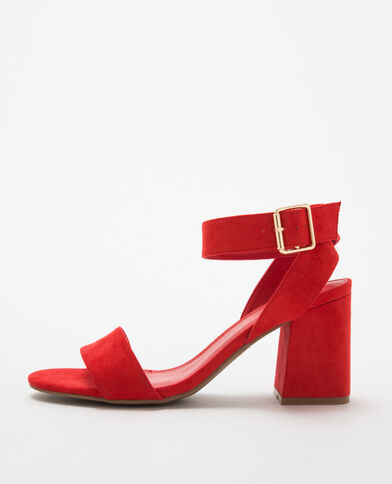Sandales rouges à talons carrés rouge