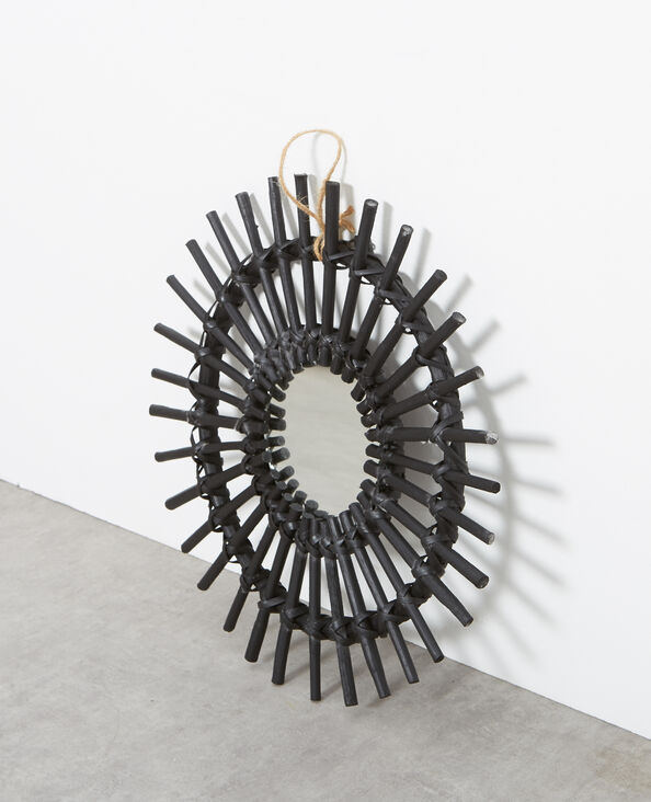 Piccolo specchio in rattan nero