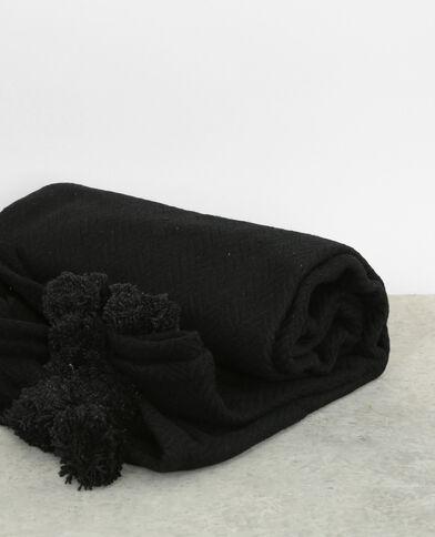 Manta grande con pompones negro