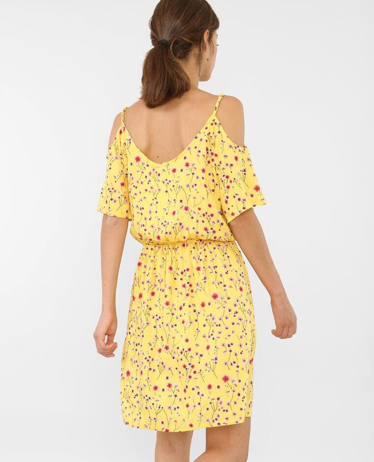 Weich fallendes Kleid mit Peekaboo-Ärmeln Gelb