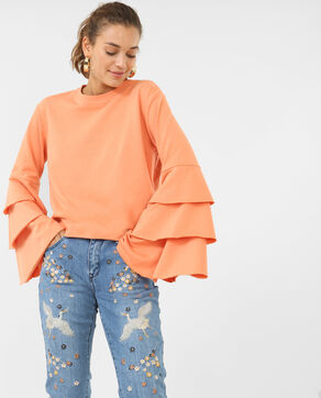 Sweatshirt mit Volants. Orange
