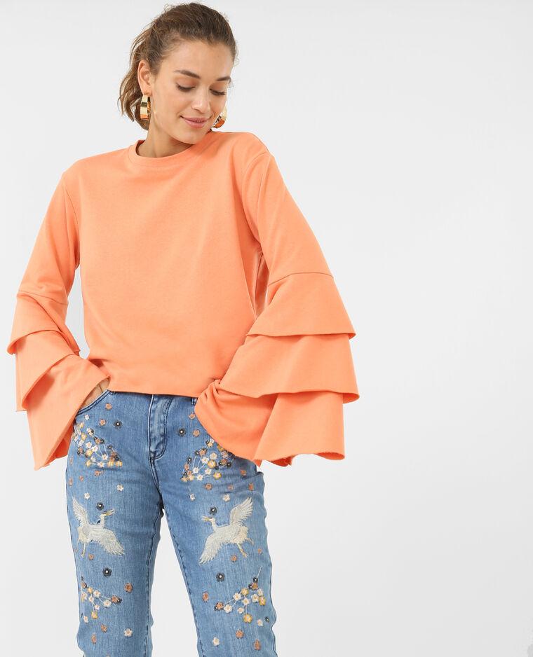 Sweatshirt mit Volants. Orange
