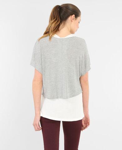 Camiseta 2 en 1. gris jaspeado