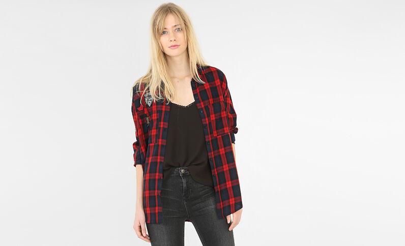 Camicia a quadri con patch rosso