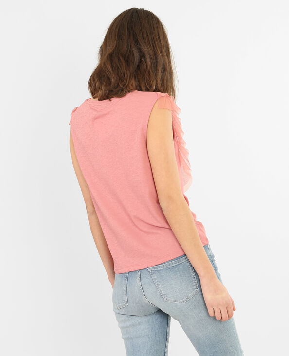 Top volants tulle rose