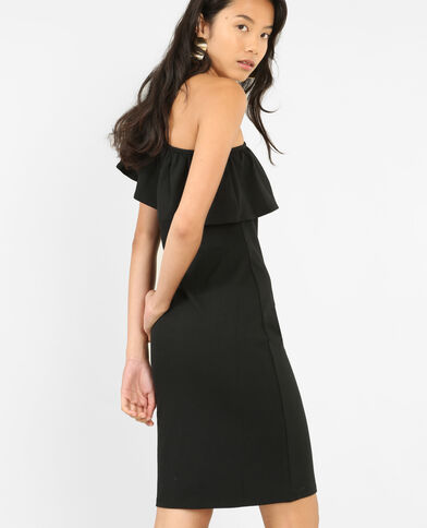 Bodycon-Kleid One Shoulder Schwarz