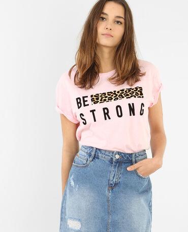 T-Shirt mit einem Streifen aus Leoparden-Print Rosa