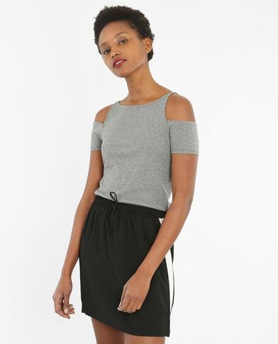 T-shirt maniche peekaboo grigio chiné