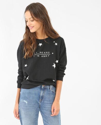 Sweatshirt mit Aufdruck Schwarz