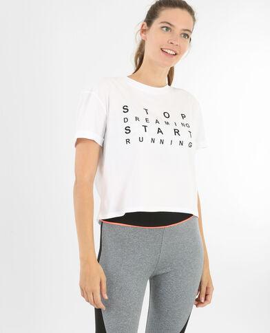 Camiseta crop de deporte blanco