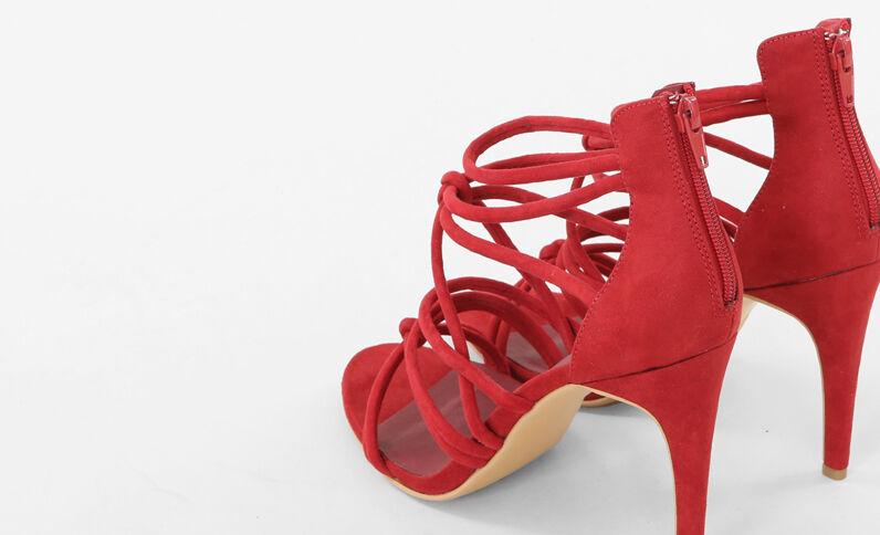 Sandaletten mit Multiriemchen Rot