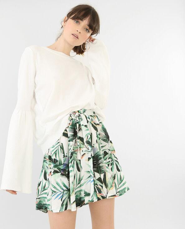 Weicher Pullover mit Pagoden-Ärmeln Naturweiß