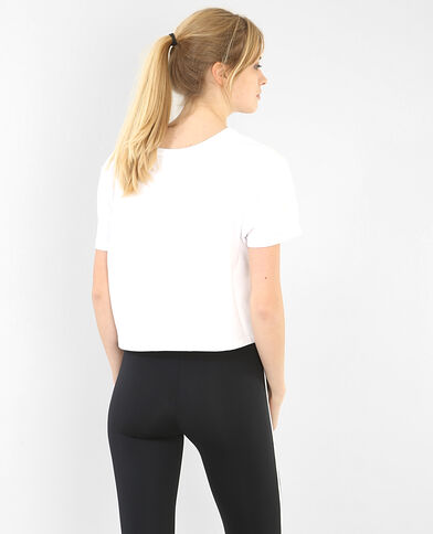 T-shirt cropped con scritta bianco