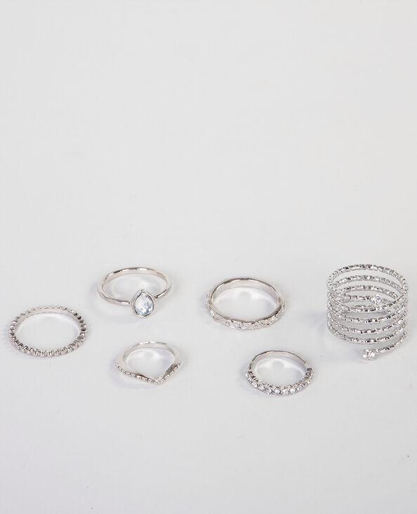 Set Ringe Silberig