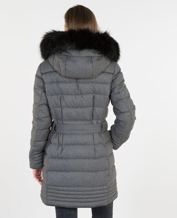 Lange Daunenjacke aus Federn Grau
