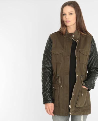 Mantel in Khaki aus Materialmix Khaki