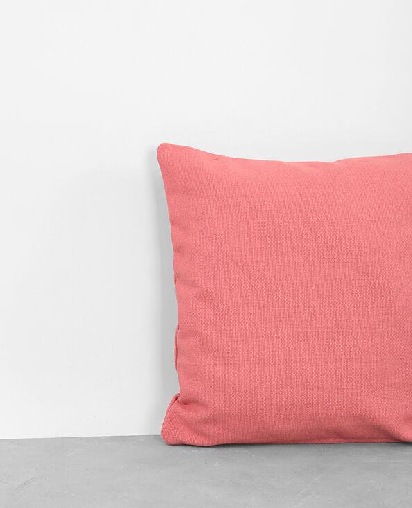 Funda de cojín de algodón rosa