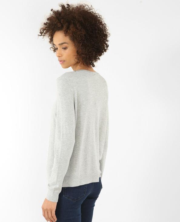 Pullover mit verziertem Halsausschnitt Grau meliert