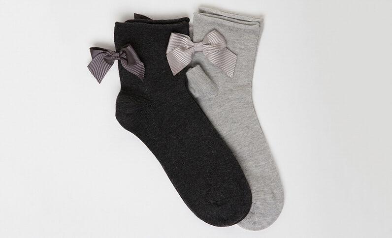 Set van 2 paar sokken met strik taupegrijs