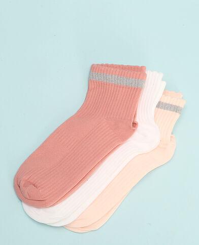 Calze invisibili sportive lurex rosa cipria