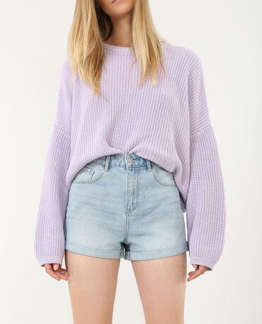 Short en jean mum bleu clair