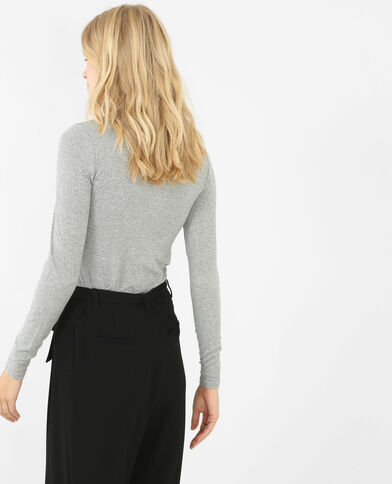T-shirt côtelé col montant gris chiné