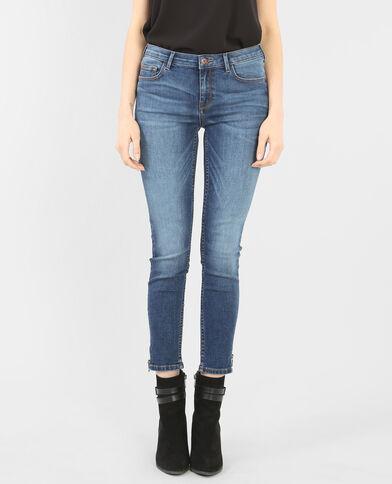 Jeans slim con cremallera azul