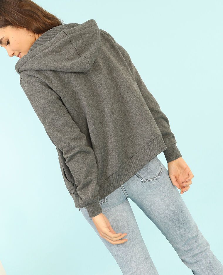 Sweatshirt mit Reißverschluss und Kapuze Grau
