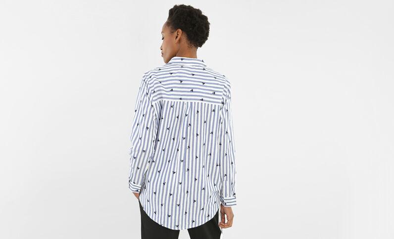 Camicia a righe con palme ricamate bianco sporco