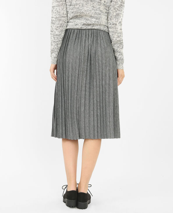 Jupe plissée midi gris chiné