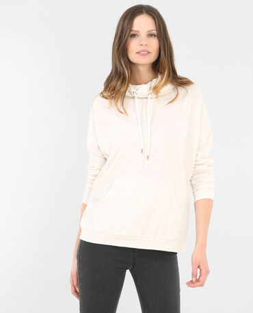 Sweat col montant beige